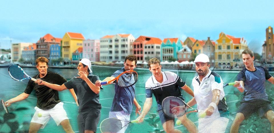 Curacao Tennis Legends2018 vlnr Wayne Ferreira - Nicolás Lapentti - Sjeng Schalken - Jacco Eltingh - Henri Leconte - Paul Haarhuis