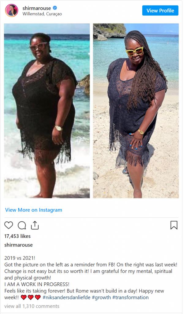 Shirma Rouse is in twee jaar tijd 60 kilo kwijt